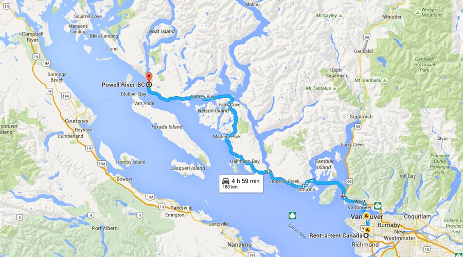 Rent a Tent Canada MAP Vancouver to Powell River