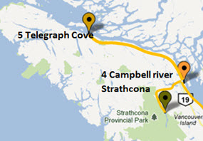 Rent a Tent Canada MAP Cambell River to Telegragh Cove