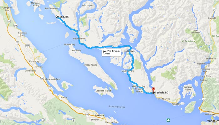 Rent a Tent Canada MAP Powell river to Sechelt