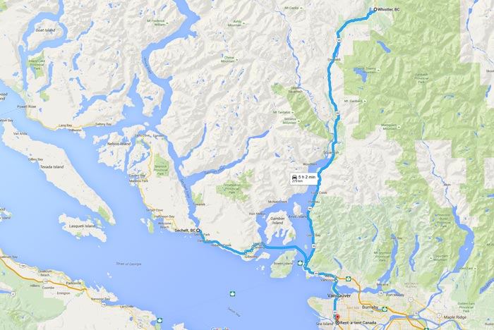 Rent a Tent Canada MAP Vancouver-Squamish-Whistler-Sechelt